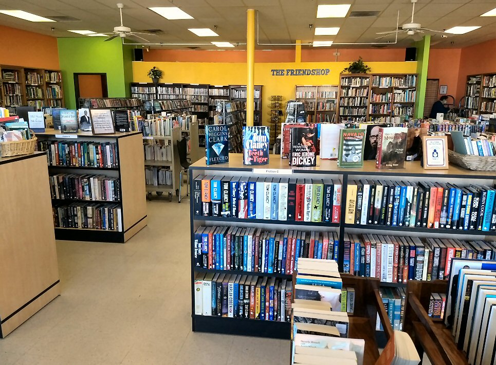 Interior of FriendShop used book store